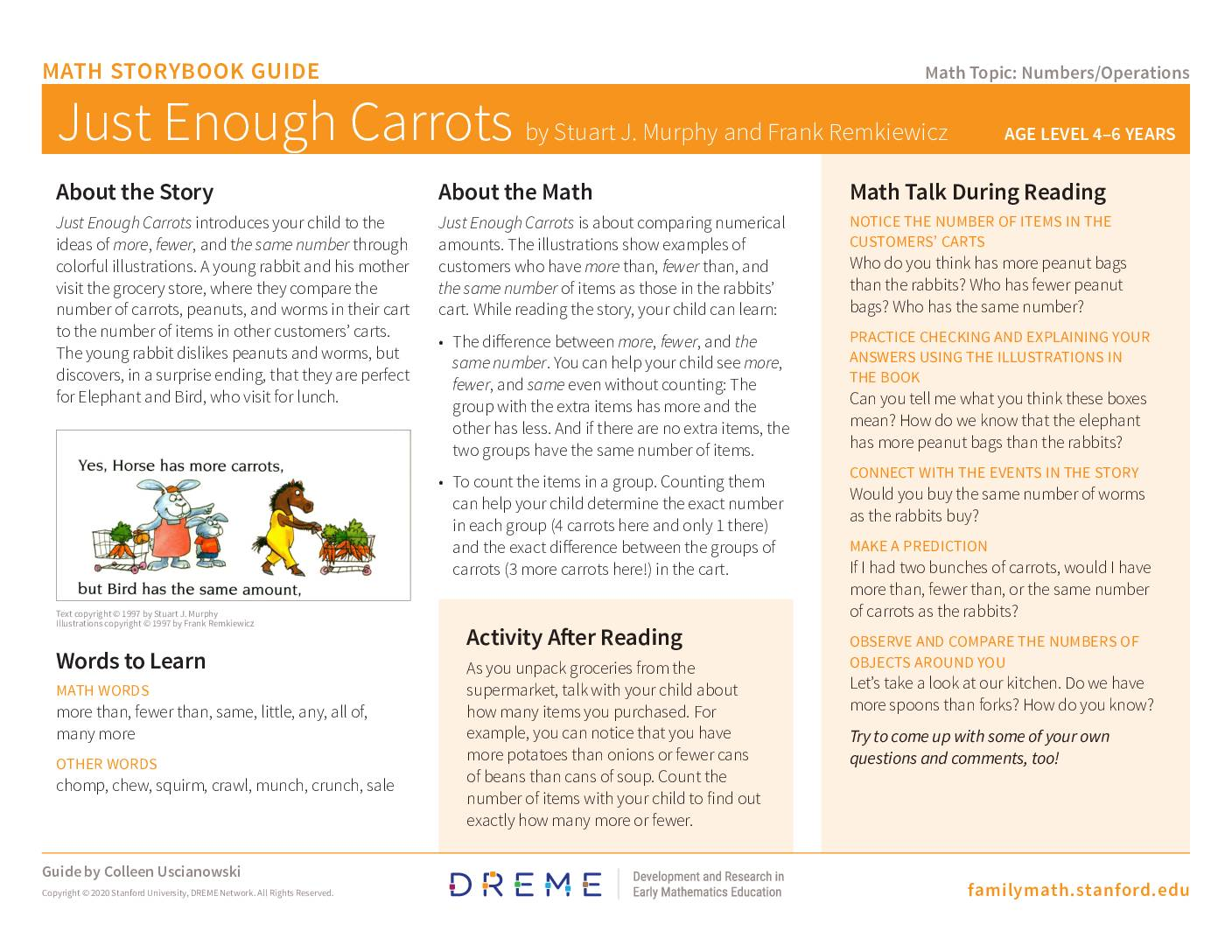 Download Storybook Guide for Just Enough Carrots PDF