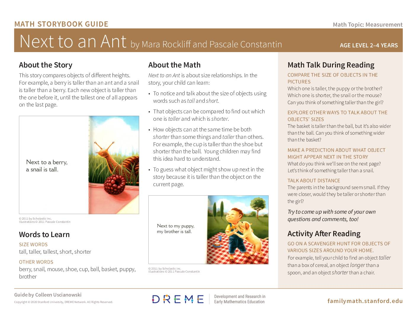 Download Storybook Guide for Next to an Ant PDF