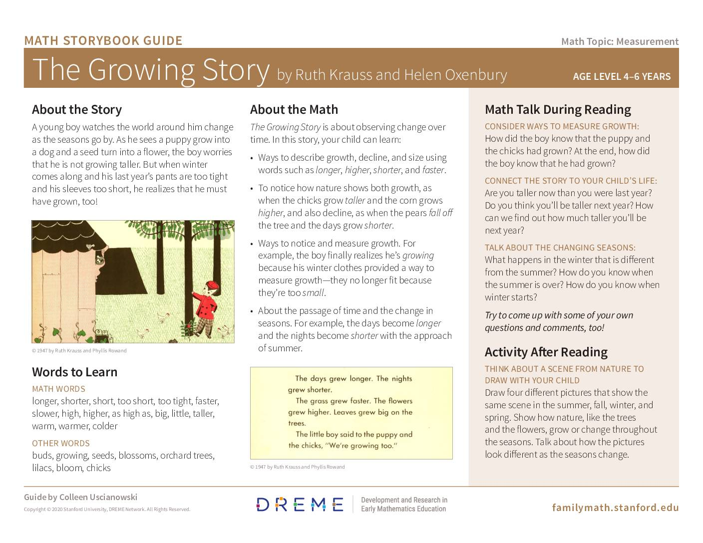 Download Storybook Guide for The Growing Story PDF