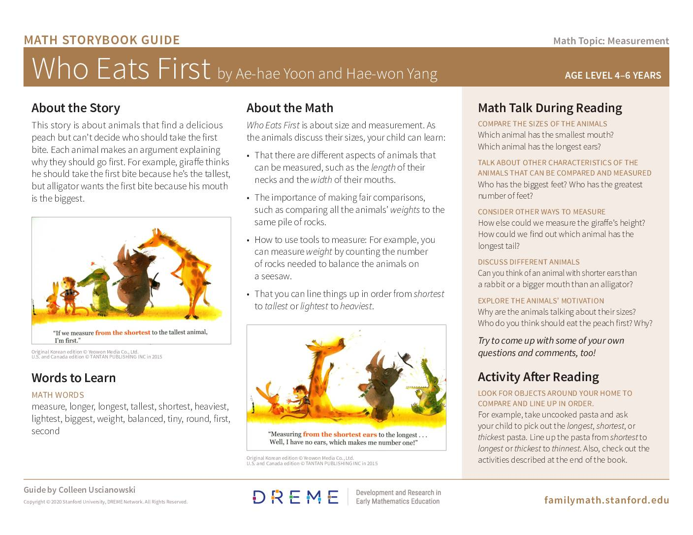 Download Storybook Guide for Who Eats First PDF