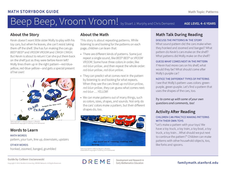 Download Storybook Guide for Beep Beep, Vroom Vroom PDF