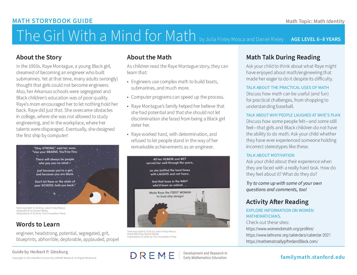 Download Storybook Guide Girl With A Mind For Math PDF