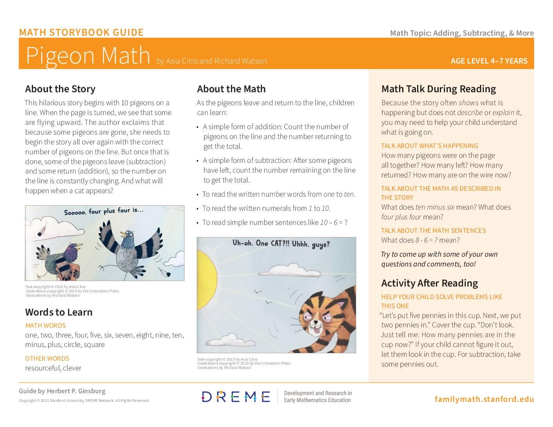 Download Storybook Guide Pigeon Math PDF